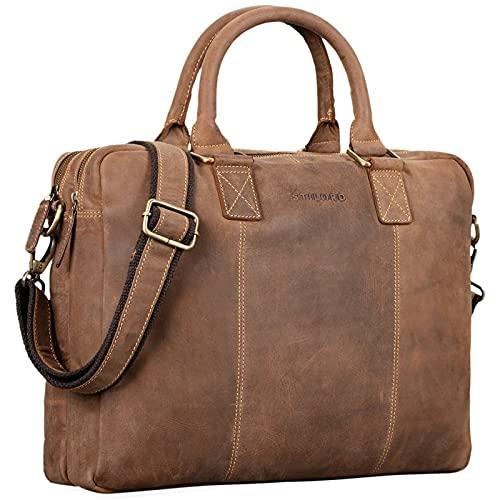 STILORD 'Zacharias' Maletín XL Cuero Vintage para portátil de 15.6' Bolso de Hombro o Bandolera de Negocios Profesor auténtica Piel acoplable, Color:Used Look - marrón