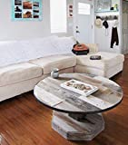 Round Rustic Reclaimed Wood Coffee Table with Metal Ring Rim, Real Natural Barnwood Top with Pedestal Leg and...