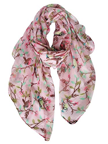 GERINLY Spring Scarfs for Women Lightweight Floral Birds Print Dress Shawl Scarf Gift (Light Pink)