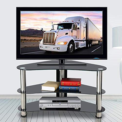 Yaheetech Black Glass Corner TV Stand Unit 3 Tier for 26 to 42 Inch Plasma LCD LED Flat Screen TV Cabinet Table