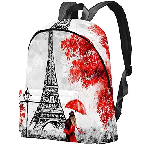 Staroutah Mochila Mochila Mochila Mochila escolar Senderismo Mochila Alta capacidad y lindo Aprender al aire libre Torre Eiffel para mujeres y hombres
