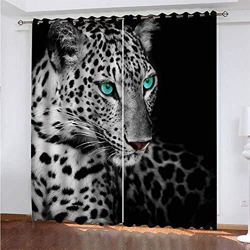 YUNSW Leopard Pattern 3D Digitaldruck Polyester Faservorhänge, Wohnzimmer Küche Schlafzimmer Verdunkelungsvorhänge, Perforierte Vorhänge 2-teiliges Set