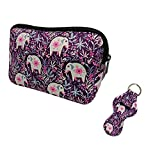Baby Elephant Cosmetic Bag Waterproof Neoprene Zipper Travel Portable Toiletry Makeup Bags Organizer Case With Chapstick Holder Keychain For Women Girl Mom