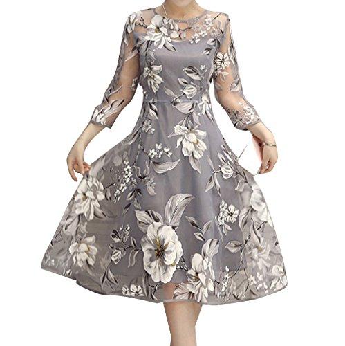 Vintage Rockabilly Kleid Elegant Neckholder Ärmellos Kleid A-Linie mit Blumen Druck Swing Cocktail Partykleid Ballkleid Brautkleid Abendkleid Hochzeitskleid in Mehreren Farben