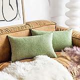 Demetex Lumbar Pillow Covers 12 x 20 inch Soft Linen Rectangle Pillowcases for Bedroom Girl Dorm, 30cm x 50cm, Sage Green