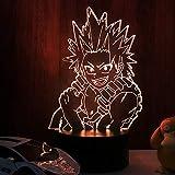 Luces de noche LED 3D Boku no Hero Academia Kirishima Eijiro Anime Lights My Hero Academia Lampara para decoración del dormitorio