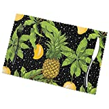 Set di 6 Tovagliette Ananas Nero Giallo Mango Foglie di Palma Tropicali Lavabile Antiscivolo Resistente al Calore per la Cucina e la tavola 45x30cm