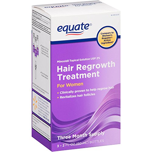 Equate - Hair Regrowth Treatment for Women with Minoxidil 2%, 3 Month Supply( 3 - 2oz bottles ) by Equate