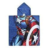 Cerdá 2200003877 Poncho Algodón Avengers Capitan America, Azul, 50x115cm