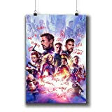 Avengers: Endgame (2019) Movie Poster Small Prints 183-303 Reprint Signed Casts,Wall Art Decor for Dorm Bedroom Living Room (A3|11x17inch|29x42cm)