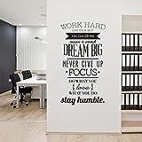 Wandtattoo für Büro, Work Hard Wandsticker als Wanddekoration für Studio Wohnzimmer Schlafzimmer 56×100cm Wand Aufkleber | Flur Diele Wohnzimmer selbstklebend Sticker Aufkleber Wandaufkleber