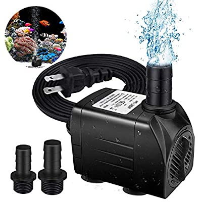 HEIGE Fountain Pump, 500GPH Submersible Water Pump, Durable 25W Outdoor Fountain Water Pump with 6ft Power Cord, 2 Nozzles for Aquarium, Pond, Fish Tank, Water Pump Hydroponics, Backyard Fountain