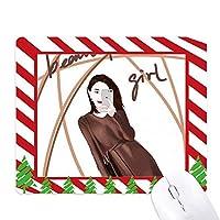 美少女フィギュアアートデザインイラスト ゴムクリスマスキャンディマウスパッド