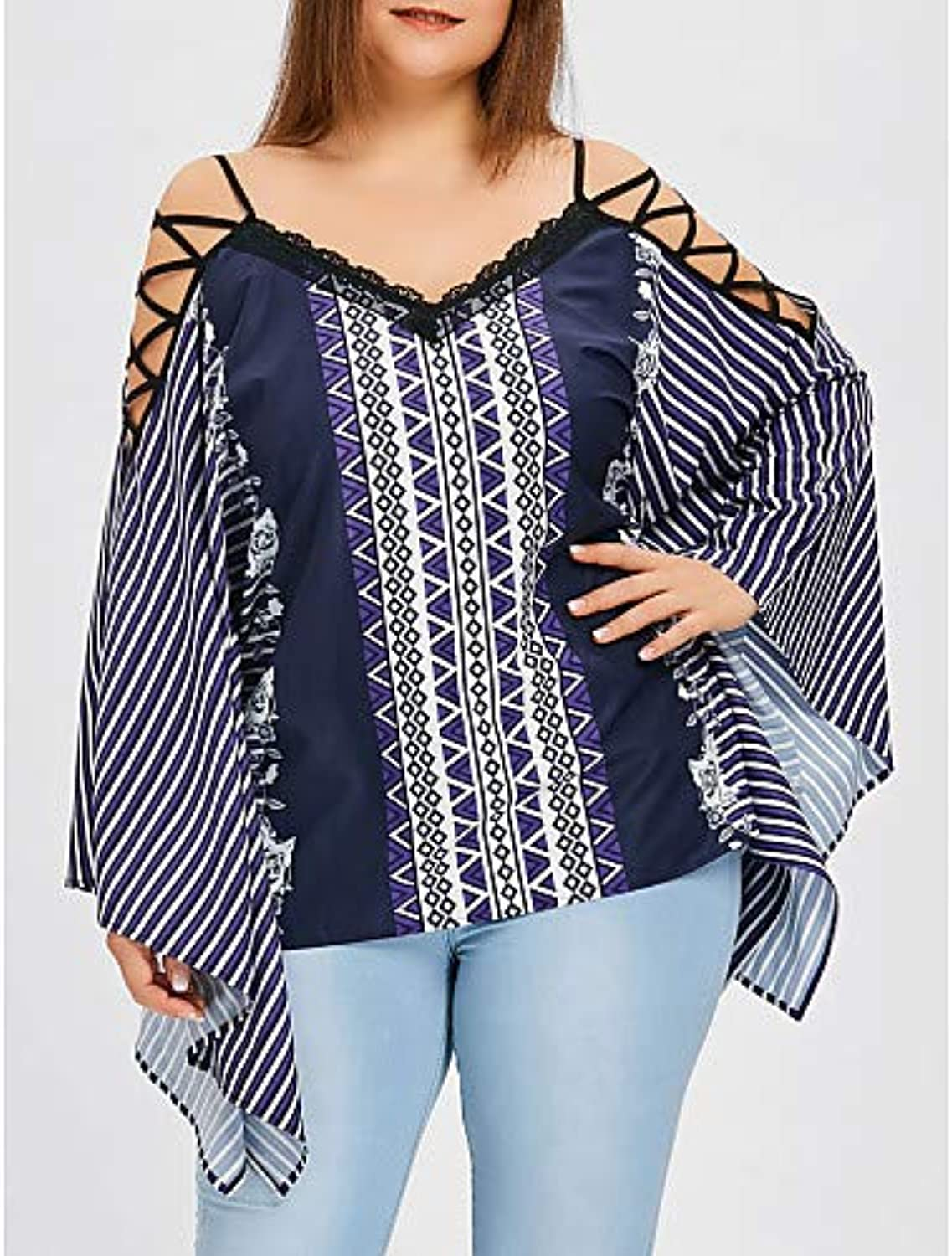 Women's Cotton BlouseSolid colord Geometric V Neck