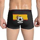 Adamitt Balón de fútbol con Bandera de España Ropa Interior de algodón para Hombres Pantalones Cortos Calzoncillos Calzoncillos bóxer