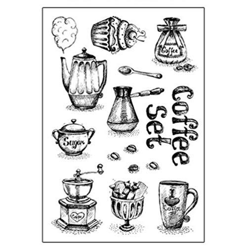 Hongma Silikonstempel Schloss Schlüssel Kaffee Glasflaschen Scrapbooking DIY MEHRWEG