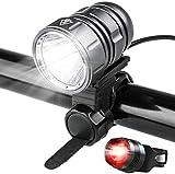 Luces LED para bicicleta Potentes 1200 lúmenes - Paquete de batería recargable de 4400 mah - Juego de luces delanteras para bicicleta - Liberación rápida con luz trasera para bicicleta - Gris