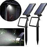 LED Solaire Projecteur,Extérieur Solaire de Jardin Spot Lampe Solaire 48 LED...