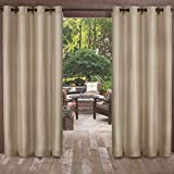 Exclusive Home Curtains Biscayne Indoor/Outdoor Two Tone Textured Window Curtain Panel Pair with Grommet Top, 54x120, Sand