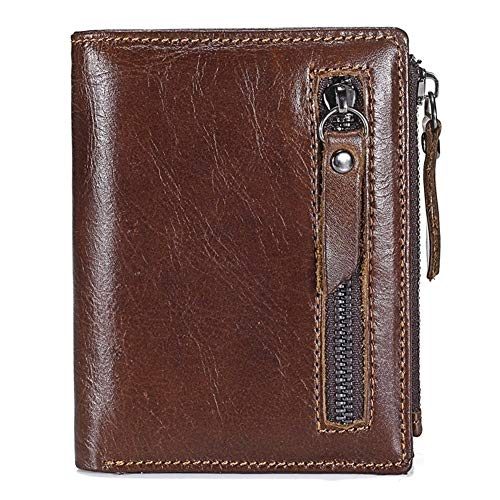 Leather Genuine Cow Leather Wallet for Men RFID Blocking Top Layer Cowhide Buckle Zipper Purse Man Card Holder fashion (Color : Coffee, Size : S)