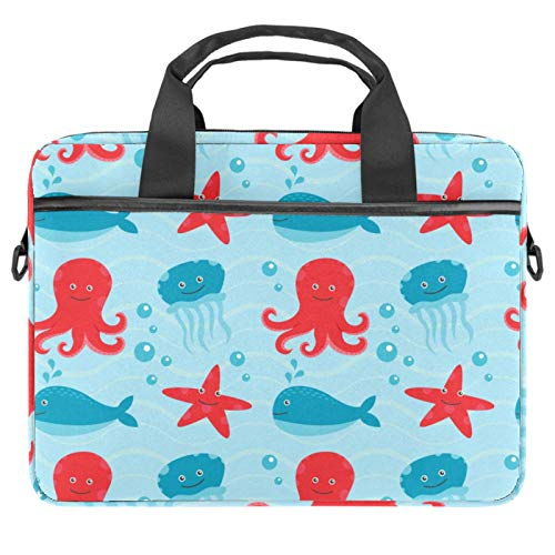 Laptop Bag Marine Octopus Starfish Jellyfish Notebook Sleeve with Handle 13.4-14.5 inches Carrying Shoulder Bag Briefcase