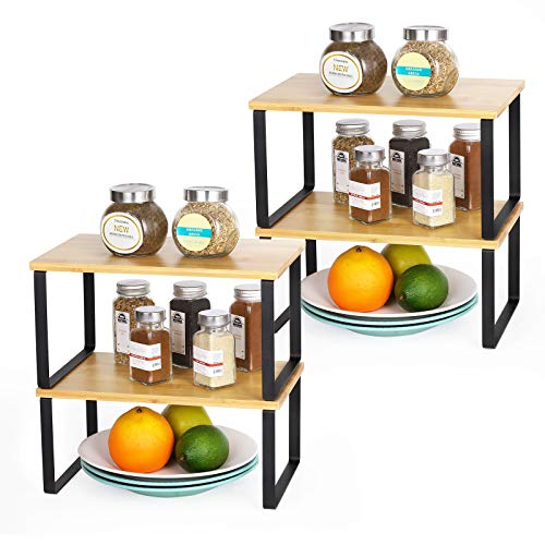 Spice Rack Cabinet Shelf Organizer, Set of 4 Kitchen Shelves for Counter Cupboard Pantry, Stackable Expandable Storage, Metal and Bamboo (Black)