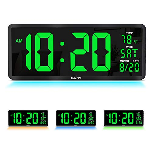 "YORTOT 16"" Large Digital Wall Clock with Remote Contol and 7 Night Lights, 4 Level Dimmer, Big LED Clock with Indoor Temperature, Date, Wall Mount/Fold Out Stand, Perfect for Home, Office, Gym (Green)"