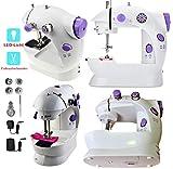 Uni.AT - Máquina de coser eléctrica para niños (mini portátil, con pedal, doble hilo)