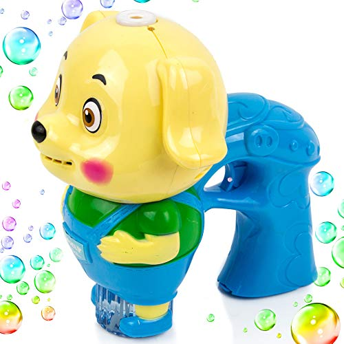 Toysery Dog Shaped Bubble Gun for Kids, Light Up Bubble Blower Machine Blaster with Refill Solution, Music, and Lights Effect Bubble Shooter Summer Toy Guns for Toddler Boys, Girls, Outdoors Activity
