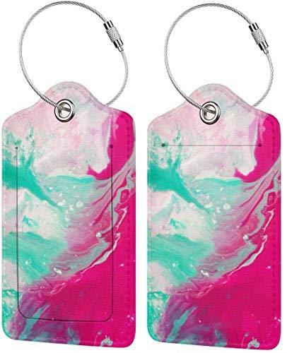 Bunte Kätzchen-Kunst Mix Grün Pink Wasserfarben Lage-Tags Tasche PU Leder Koffer Etiketten Design Reisen mit Rückseite Sichtschutz W/Stahlschlaufen