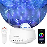 Starry Star Projector, Liwarace WiFi Star Light Projector Work with Alexa Google Home, 4 color 27 modes Night Light with Voice Control/App/Remote, Bluetooth Speaker Night Light for Kids Bedroom Gifts