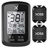 XOSS G+サイクリングコンピュータ、GPSワイヤレスサイクルコンピュータサイクリングスピードとケイデンスセンサー (セット2)…