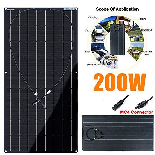 LAMP-XUE 12V / 24V Flexible Solar Panel, 200W Semi Flexible Monokristalline Water-Resistant Solar-Ladegerät für RV, Boot, Hütte, Trailer, Weitere Off-Grid-Anwendungen,20a Controller