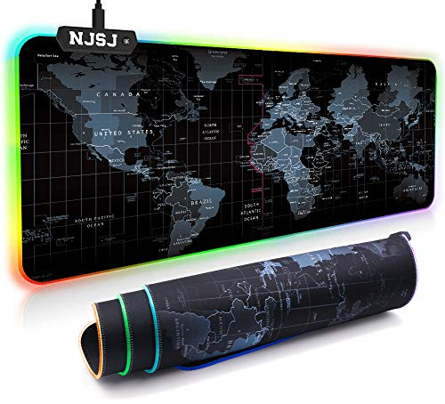 NJSJ RGB Gaming Mouse Pad, LED Extended Soft Mousepad - 12 Lighting Modes, 2 Brightness Levels, Waterproof Surface & Non-Slip Rubber Base, Computer Mouse Mat for Gamer (Map-XL(31.5'X11.8'))