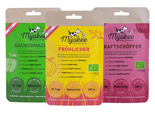MYOKEE 3-er Set I 120g I Hunde Smoothie+Topping aus vermahlenen Gerstengras, Gemüse und Obst in 100% Bio-Lebensmittelqualität