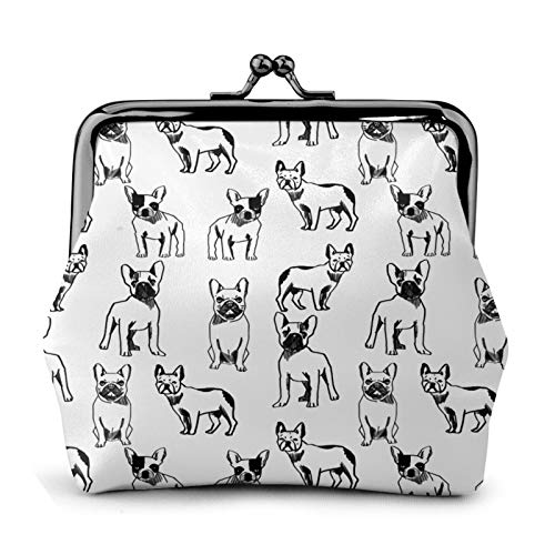 antcreptson Women's Wallet Buckle Coin Purses Cute Pouch Kiss-Lock Change Purse Travel Makeup - French Bulldog Black and White Dog