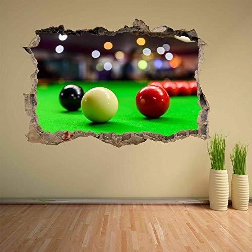 Efecto 3D pegatinas de pared rota bolas de mesa deportes etiqueta de la pared mural calcomanía decoración de la oficina en casa-130x85cm