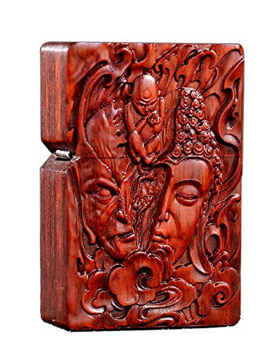 Natural Huanghuali Rosewood Carving Lighter Shell Box For Zippo Module (Half Buddha & Devil Face)