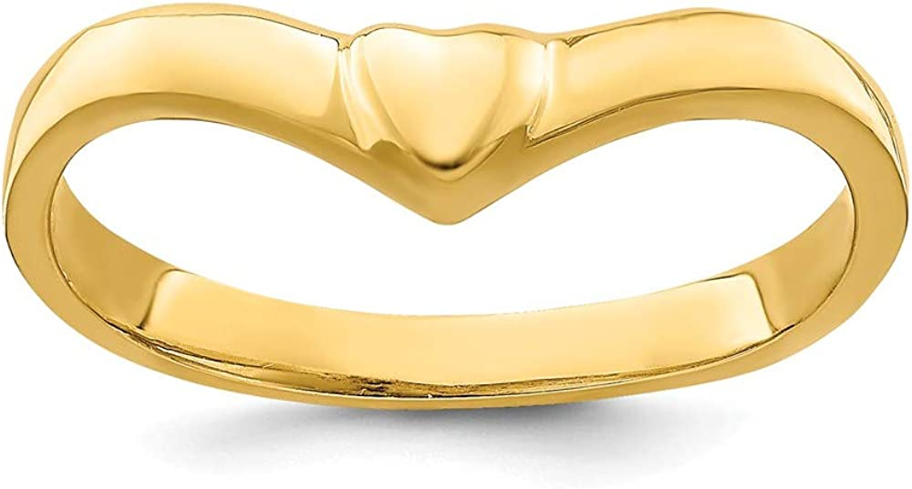 14k Yellow Gold V Shape Heart Band Ring Size 7.00 Love Fine Jewelry For Women Gifts For Her