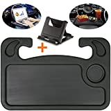 Lsyomne Car Steering Wheel Desk Tray Table Food Eating Laptop Holder with Cell Phone Stand Car Table Laptop Tray for Eating Tablet iPad and Notebook Black