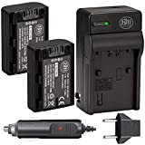 Pack Of 2 NP-FH50 Batteries + Battery Charger For Sony...