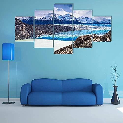 Impresiones 5 Pieza Impresiones sobre Lienzo 100X55CM El Glaciar Grey Patagonia Austral Cuadro En Lienzo 5 Piezas Impresión Material Tejido No Tejido Impresión Artística Imagen Gráfica Decoracion