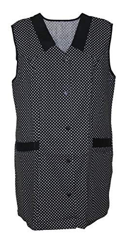 Kasack Kittel kurz Schürze 7/8- Kasack ohne Arm Baumwolle Punkte schwarz, Größe:54