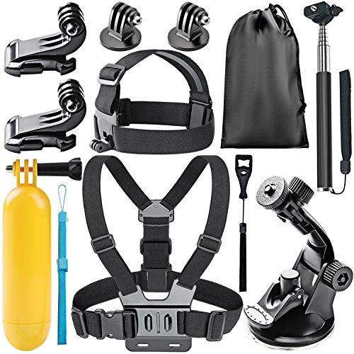 Neewer 8 en 1 Kit de Accesorios para Gopro Deportes cámaras, el Kit Incluye: Cabeza Monte + Pecho Monte, Manija Monópode + Soporte + empuñadura Mango Flotante y más