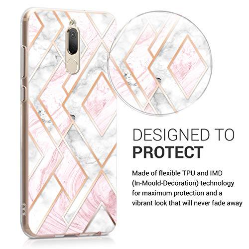 kwmobile Huawei Mate 10 Lite Hülle - Handyhülle für Huawei Mate 10 Lite - Handy Case in Glory Mix Marmor Design Rosegold Weiß Altrosa - 3