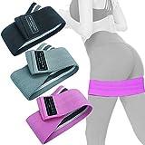 FOCUS REVISION Cotton Hip Elastic Band Bodybuilding Women Resistance Bands Belt for Leg Butt Lifting Squats Exercise Workout,(Grey,Pink,Black)