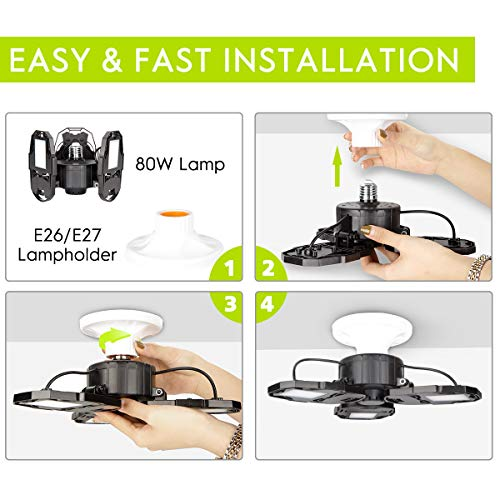 Led Garage Lights, 80W Deformable Garage Ceiling Light 8000lm E26 Basement Lights with 3 Adjustable Led Panels 270° – Fits for Garage, Warehouse, Barn, Workshop and Yard (No Motion Activated) 4