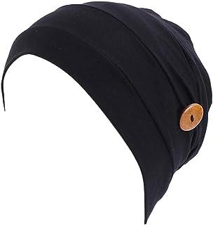 MoreChioce Cappello turbante da donna con bottone, foulard musulmano in cotone elastico Headwrap Chemo copricapo elegante ...