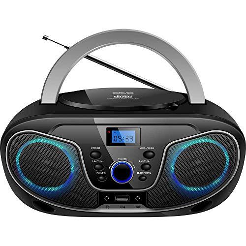 Silva Schneider MPC 19.4 UKW Radio mit CD-Player, AUX, USB, Schwarz/Silber