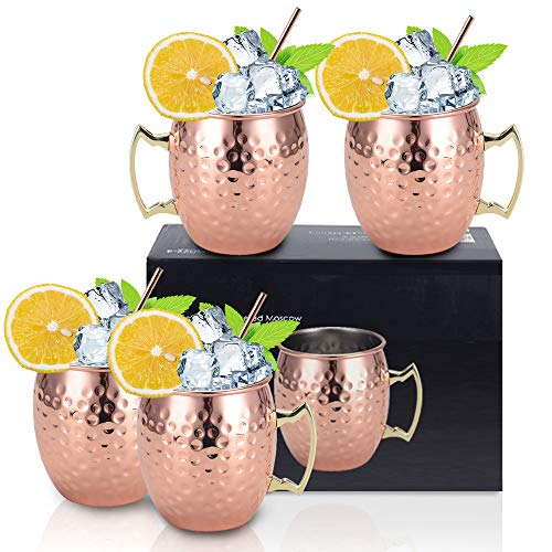 Moscow Mule Copper Mugs - Gift Set of 4, Solid Handcrafted Copper Cups - 16 oz Copper Mug Cups with...